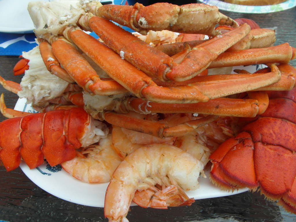 Seafood - lobster tails, prawns and king crab legs